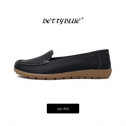 Betty Blue Women's Plus Size Black Leather Loafers Moccasins 556-8XL