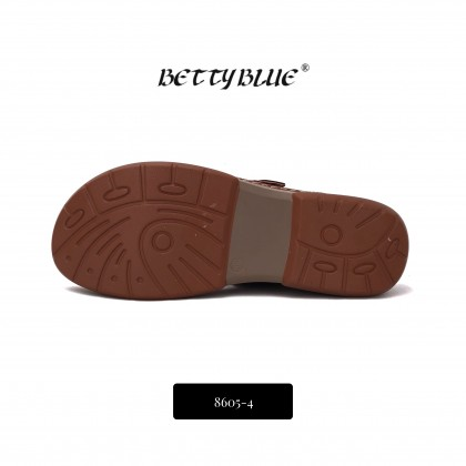 Betty Blue Women Tan Leather Buckle Elevated Slippers 8605-4