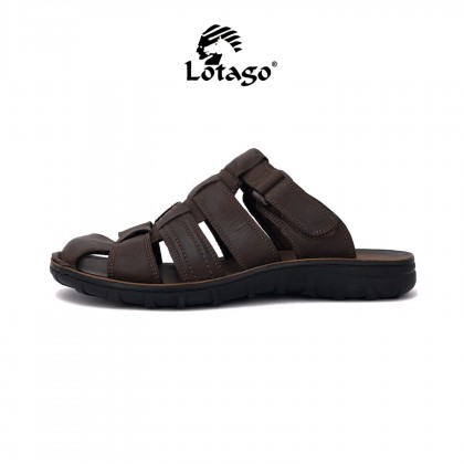 Lotago Men's Genuine Cow Leather Slides Slippers 9013