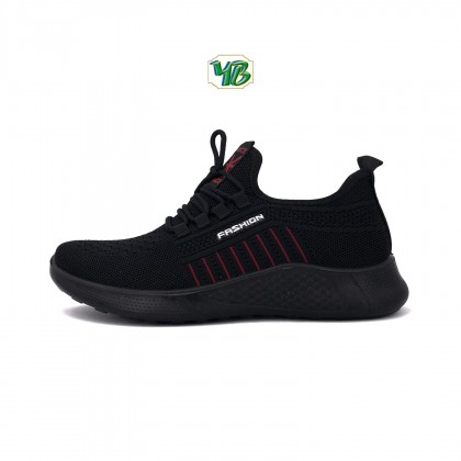 Men's Black/Red Breathable Mesh Lace Up Canvas Fashion Sneakers Shoes A-68