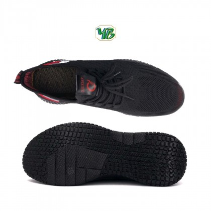 Men's Black/Red Breathable Mesh Lace Up Canvas Fashion Sneakers Shoes 21-90